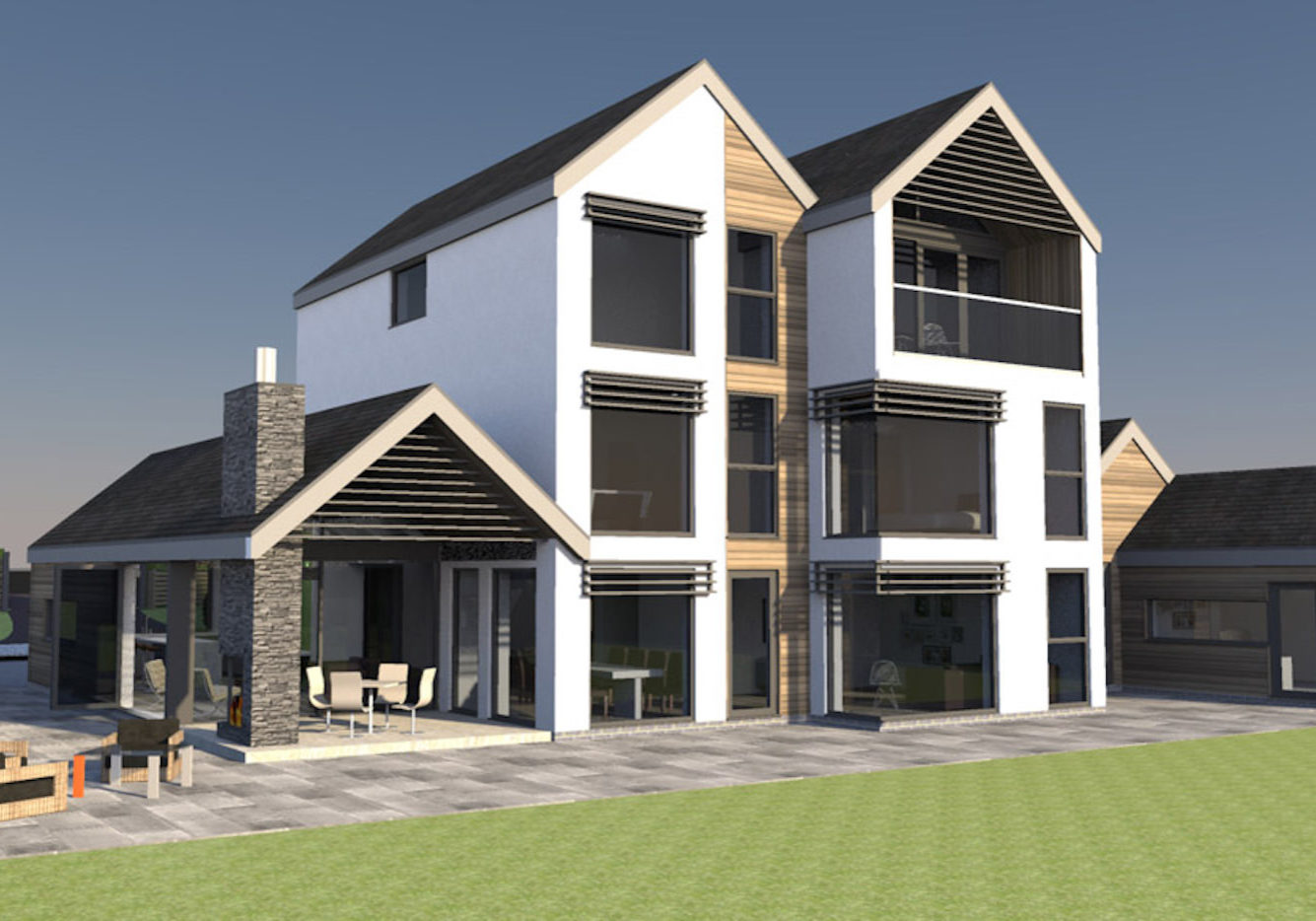 John Morris Architects Wingfield Road New Build House Design 3D Generated Image